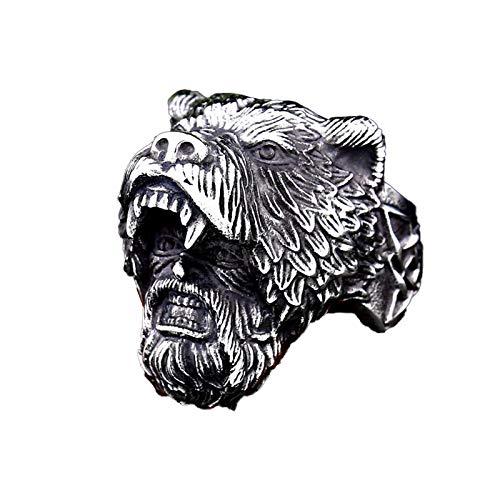 MINGDIAN Anillo Celtic Viking Bear, Anillos de Acero Inoxidable para Hombres Viking Bear Man Warrior Silver Black Titanium Biker Ring Charm Jewelry, tamaño 7-13