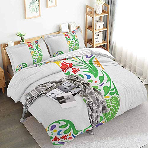 Aishare Store Letter J Duvet Cover Set,Initial Capital J with Tropical Nature Elements Leaves and Flowers Abstract Swirls,Decorative 3 Piece Bedding Set with 2 Pillow Shams,King(104'x90') Multicolor