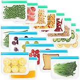 Bolsas Reutilizables para Alimentos, 16 Bolsas Reutilizables para Almacenamiento de Alimentos, Bolsas Reutilizables para Congelador, Bolsas Reutilizables con Cierre Hermético para Sándwich