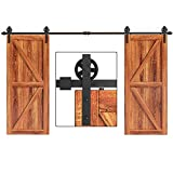 EaseLife 12 FT Double Door Heavy Duty Big Wheel Sliding Barn Door Hardware Track Kit,Ultra Hard Sturdy,Slide Smoothly Quietly,Easy Install,Fit Double 36' Wide Door (12FT Track Double Door Kit)