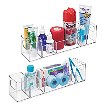 mDesign Plastic Storage Organizer Bin with Handles – Divided Organizer for Vitamins, Supplements, Serums, Essential Oils, Medicine Pill Bottles, Adhesive Bandages, First Aid Supplies – 2 Pack – Clear