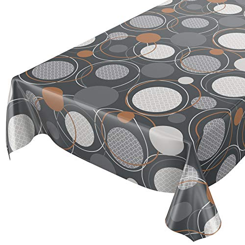 Anro - Mantel de hule lavable, 95% PVC, 5% poliéster., Círculos geométricos., 100 x 140cm Schnittkante