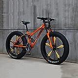 Bicicleta De Montaña Cuadro 26', 21/24/27 Velocidades Bicicleta MTB Bikes De Fat Tire para Adultos, Marco De Acero De Alto Carbono Doble Suspensión Completa Doble Freno De Disco,B,24'