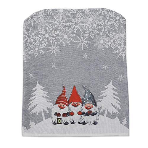 LKEEP Weihnachten Stuhlhussen Santa Claus Stuhl zurück Esszimmerstuhl Schonbezüge für Weihnachtsfeiertag Festliche Dekoration, grau