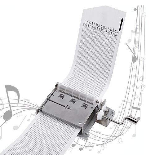 Caja de música de Manivela Manual, Manivela Mecanismo Musical Movimiento Caja de Música de 30 Notas con 3 Cintas en Blanco DIY