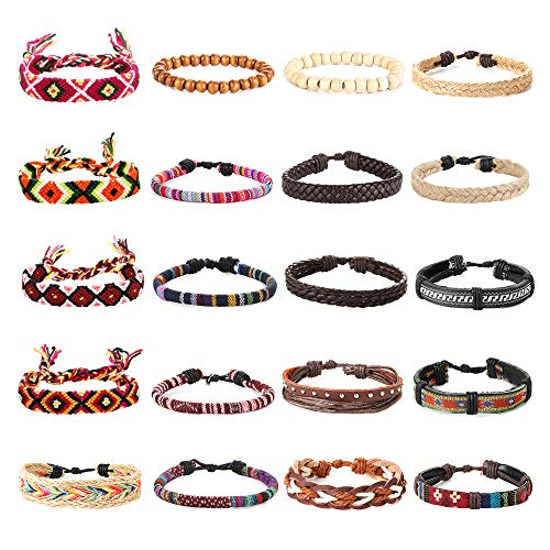 Thunaraz 20Pcs Braided Bracelets for Men Women Ethnic Tribal Bracelets Boho Hemp String Strand Bracelet