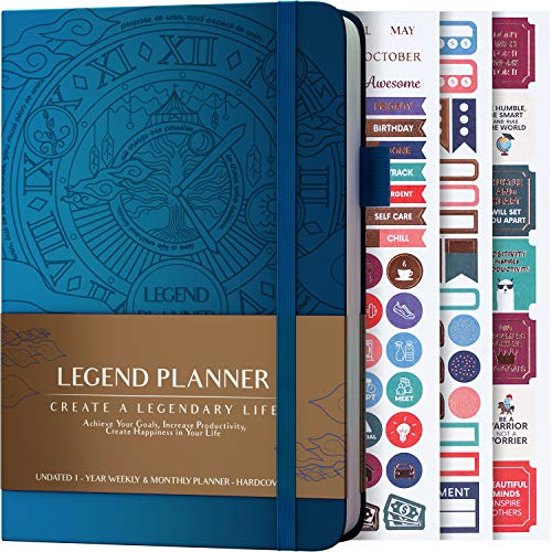 Legend Planner - Deluxe Weekly & Monthly Life Planner to Hit Your Goals & Live Happier. Organizer Notebook & Productivity Journal. A5 Hardcover, Undated - Start Any Time + Stickers - Mystic Blue