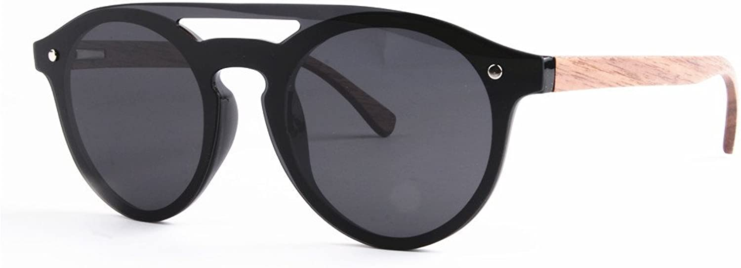 Men's Sunglasses Personality One-Piece Style Polarized PC Frame TAC Lens Bamboo Leg UV Predection Driving Fishing Beach Outdoor Sunglasses (color   Black)