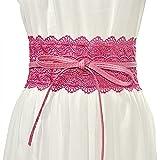 Cinturón de encaje de arco de las mujeres Nuevo Corsé Cinturones anchos para las mujeres Vestido de novia Cintura (Belt Length : 210cm, Color : Rose red)