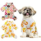 HYLYUN 2 Pack Puppy Pajamas - Cats Onesie Soft Dog Pajamas Cotton Puppy Rompers Pet Jumpsuits Cozy Bodysuits for Small Dogs and Cats S