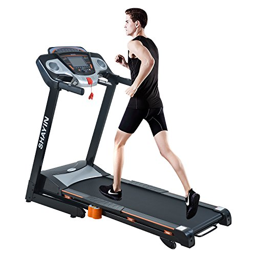 Shayin Treadmills Folding Electric Treadmill Auto Power Incline Running Exercise Machine for Home Gym Exercise Fitness Fold Up Cardio Training Equipment Assembly Sports 2.0HP Gift Black Treadmills