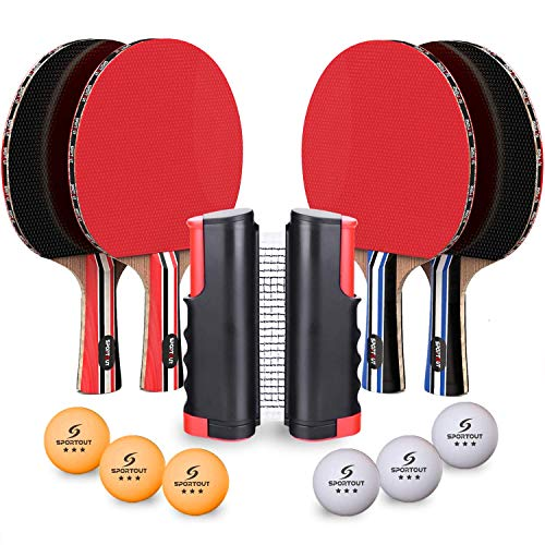 Learn More About Sportout 4 Player Ping Pong Paddle Set, Table Tennis Paddle Set with Retractable Ne...