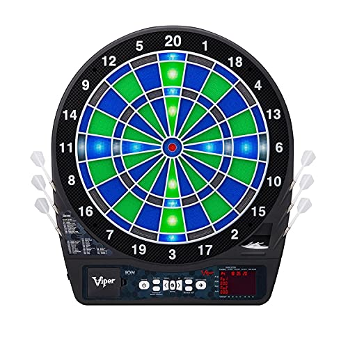 Viper Ion Electronic Dartboard, Illuminated Segments, Light Based Games, Green And Blue...