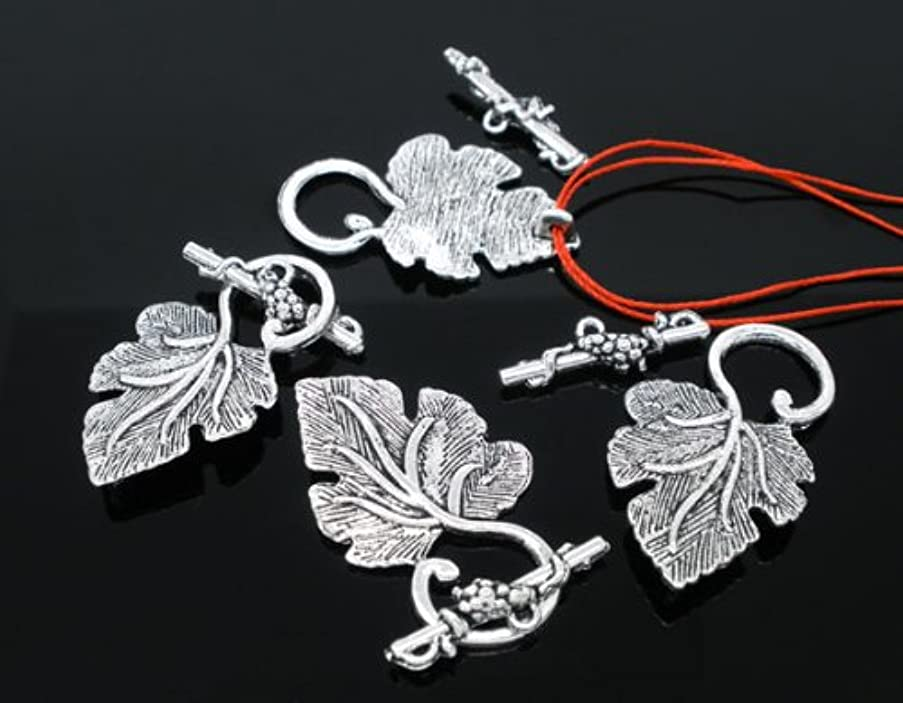PEPPERLONELY Brand 20 Sets Antique Silver Grape Charm Toggle Clasps Findings 37x23mm