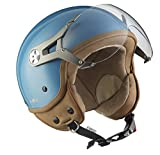 SOXON SP-325-MONO Crystal Blue · Moto Casque Jet Retro Chopper Pilot Cruiser Mofa...