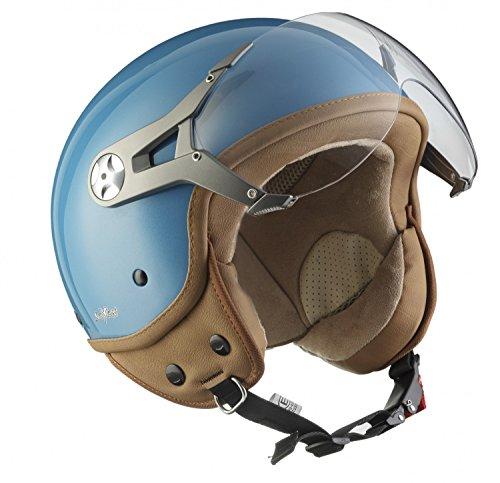 "Soxon® SP-325 Mono ""Crystal Blue"" · Jet-Helm · Motorrad-Helm Roller-Helm Scooter-Helm Bobber Mofa-Helm Chopper Retro Cruiser Vintage Pilot Biker · ECE Visier Schnellverschluss Tasche S (55-56cm)"