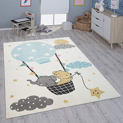 Paco Home Kinderteppich Teppich Kinderzimmer Mädchen Jungs Verschiedene Motive Und Größen, Grösse:120x160 cm, Farbe:Creme