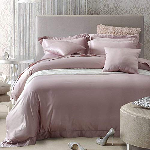 Nordic Royal Real Washed Silk Duvet Cover Set, 4 Piece Suit Duvet Cover Bed Sheets Pillowcase*2 Bedding Sets Rococo Style Deep Sleep