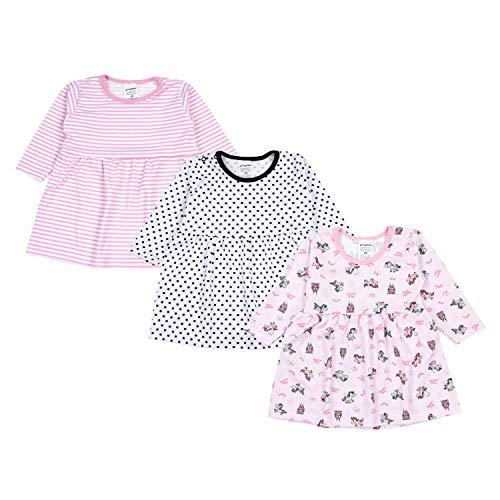 TupTam Baby Mädchen Kleid Langarm Tunika 3er Pack, Farbe: Farbenmix 4, Größe: 74