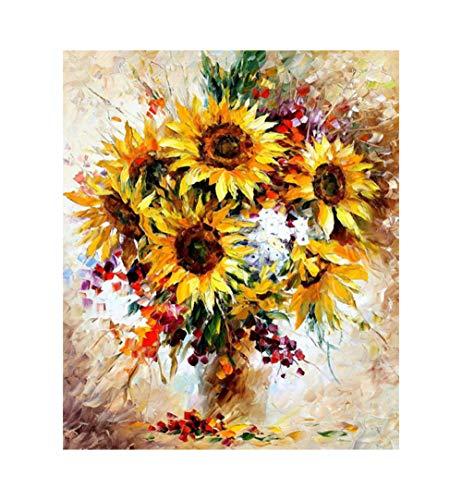 xdai DIY Malen nach Zahlen für Erwachsene Ölgemälde Kit für Kinder Anfänger,Abstrakte gelbe Sonnenblume Leinwand Weihnachten Geschenk Heimdekoration Ohne Rahmen-50x60cm