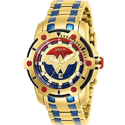 Invicta 26839 DC Comics Wonder Women Women's 39.5mm Gold-Tone Blue Dial Watch