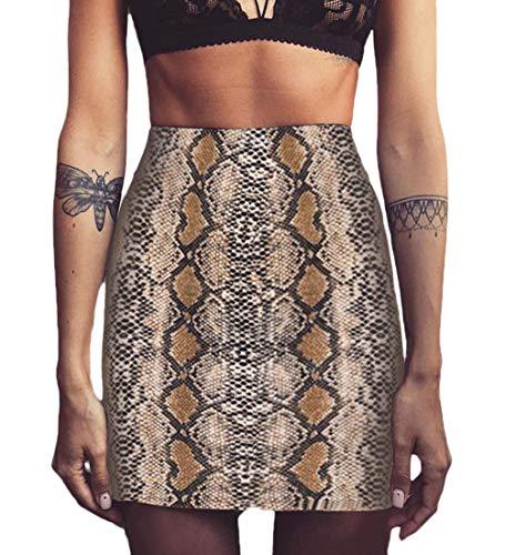 Röcke Damen Vintage Mode Beiläufiges Schlangenmuster A-Linie Slim Rock High Waist Elegante Paket Hüfte Minirock Casual Frauen Bleistiftrock Herbst Winter (Color : Brown, Size : S)