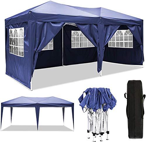 Serface Pavillon Faltpavillon 3x3/3x6 Wasserdicht Faltbare Gartenpavillon Festival Sonnenschutz Faltpavillon, UV-Schutz mit 4 Seitenteilen für Garten/Party/Hochzeit/Picknick (3x6m Blau)