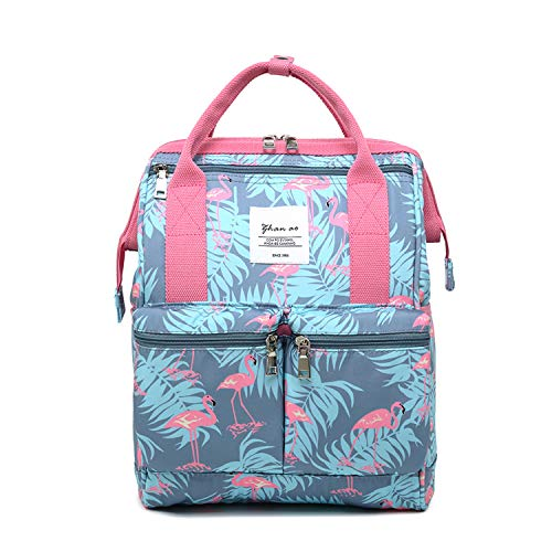 FANDARE Schulrucksack Schultasche Flamingo Teenager Mädchen Rucksäcke Schulranzen Backpack Tagesrucksack Reise Daypacks Damen 12.9 Zoll Laptop-Tasche Kinderrucksäcke Wasserdicht Polyester Rosa