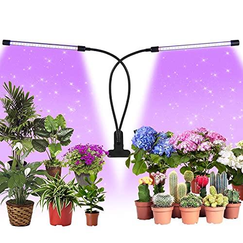 papasbox LED Pflanzenlampe 48W Pflanzenlicht Pflanzenleuchte 48 LEDs Wachsen licht, 3 Arten Lichtmodus 9 Stufen Helligkeit Wachstumslampe Vollspektrum für Zimmerpflanzen mit Zeitschaltuhr