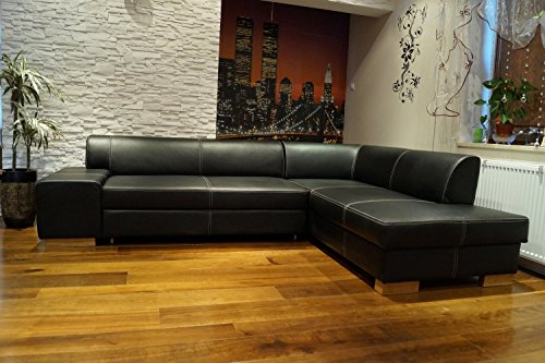 Quattro Meble Echtleder Ecksofa London II 275 x 200 Sofa Couch mit Bettfunktion und Bettkasten Schwarz Echt Leder mit Ziernaht Eck Couch große Farbauswahl