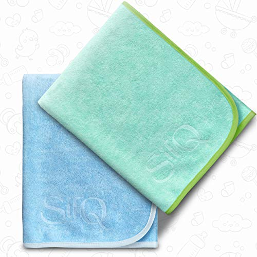 Quick Dry SilQ Baby Bath Towels for Newborn Babies, Combo of 2, Sea Green - Blue, 60 cm x 90 cm | Ultra Soft & Fast Drying Towel for Toddlers & Kids - Perfect Newborn or Baby Shower Gift Pack