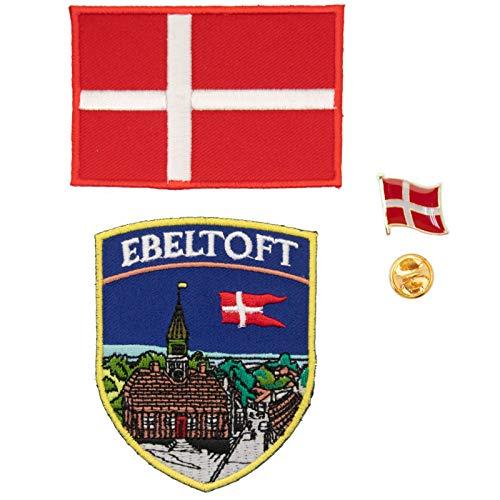 A-ONE Ebeltoft bestickter Aufnäher + Dänemark-Flaggen-Emblem + Metall-Anstecker, Europa-Reise-Souvenirs und...
