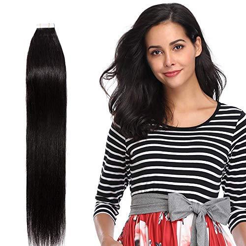 Extension Bande Adhesive Cheveux Naturel 20 PCS - Rajout Vrai Cheveux Humain Tape in (#1B Noir Naturel, 60 cm)