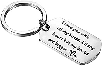 Sephilitone Humor Keychain Stainless Steel You Have My Heart and My Ass Love Letter Keychain Gift for Lover