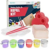 Dan&Darci Pottery Studio Refill Kit - Includes: 1 Lb. Air-Dry Clay, Sponge, 6 Color Vials, 2 Paintbrushes, Paint Palette Instruction Guide - Works Pottery Studio or Any Brand - Pottery Clay