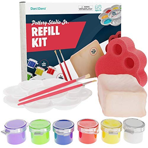 Dan&Darci Pottery Studio Refill Kit - Includes: 1 Lb. Air-Dry Clay, Sponge, 6 Color Vials, 2 Paintbrushes, Paint Palette Instruction Guide - Works with All Brands - Kids Pottery Clay Set