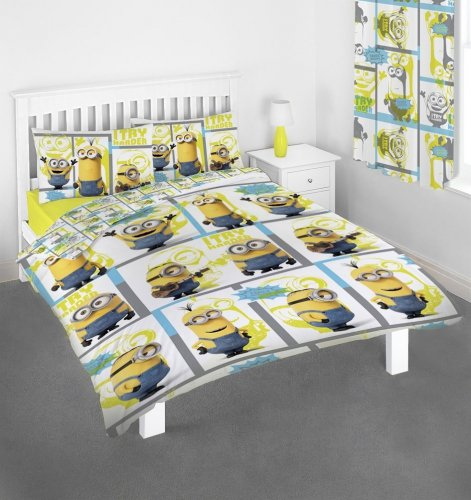 Character Despicable Me Minions 'Let's Try Harder' Reversible Double Duvet Cover Rotary Movie