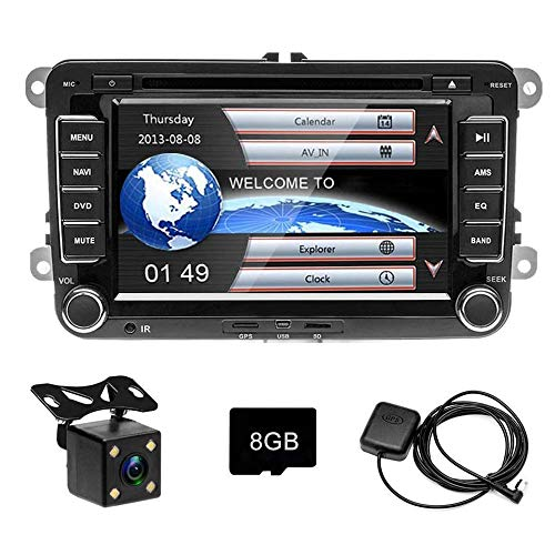CD DVD Autoradio per Golf Polo Passat Tiguan Touran GPS Navigation CAMECHO Touch Screen da 7 pollici Bluetooth Car Stereo Player Radio FM USB per Golf POLO Touran Tiguan Seat Altea + Telecamera