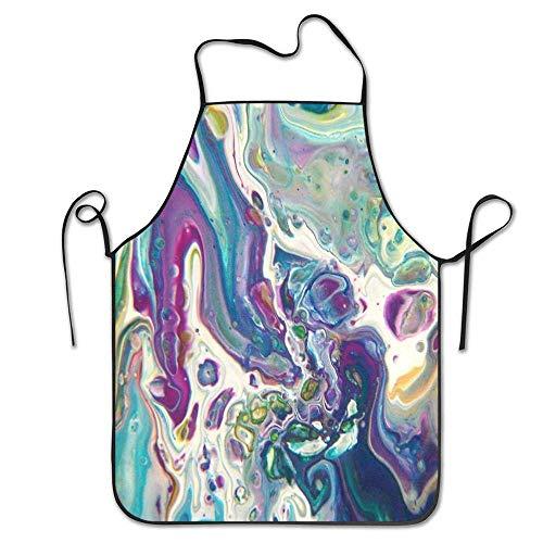 AOOEDM ID Nature Purple Dance Acrylic Pour Art Delantal Ajustable con Babero Waterdrop Cocina Delantales de Cocina para Mujeres Hombres Chef