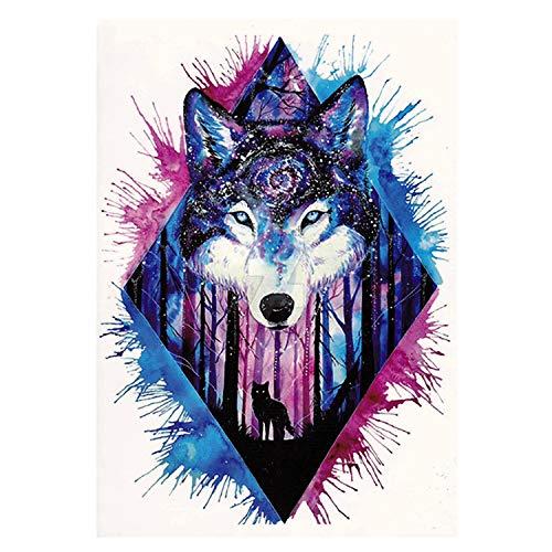 1 x Wolf als kleurrijke XL tattoo - waterkleuren bos splash - body temporary fake tattoo - TH203 (1)