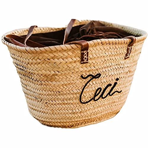 BY JUANITA CAPAZO DE PLAYA PERSONALIZADO bolso de playa personalizado con nombre capazo de mimbre mujer