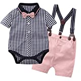 Tiepant Baby Boy Shorts Set Infant Formal Suits for Wedding Plaid Short Shirt + Pink Suspender Bib Pants + Bow Tie Clothes Set