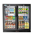 KoolMore 2 Door Back Bar Cooler Counter Height Glass Door Refrigerator with LED Lighting - 7.4...