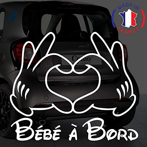 Stickers bébé à bord pour voiture Mains Mickey 20 cm Blanc - Anakiss