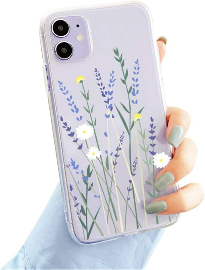 Compatible with iPhone 11 Case, Clear Cute Flower Design Flexible Bumper TPU Soft Rubber Silicone Girly&Boys Case Cover for iPhone 11 6.1''-P