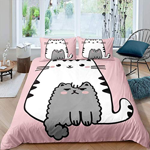 Cartoon Cat Duvet Cover for Kids Boys Girls Teens Cute Animal Pattern Pet Cat Comforter Cover Hypoallergenic Microfiber Bedspread Cover Decor 3Pcs Bedding with 2 Pillowcase Double