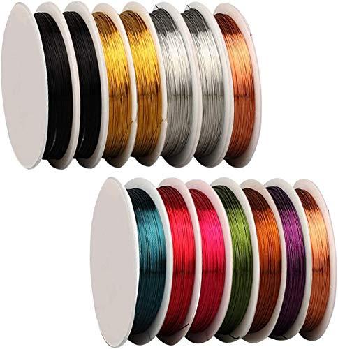 OBSGUMU Paquete de 14 alambres de joyería para fabricación de joyas y artesanías (26 carriles 11 patio)