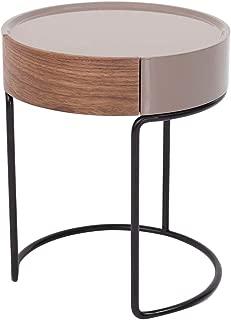 Marca Amazon - Rivet - Mesita redonda con cajón y base en negro metalizado, nogal y lacada en tonos piedra mate