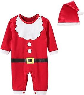 Navidad Ropa Mameluco Bebe NiñO NiñA OtoñO E Invierno Nuevas Mangas Largas Vestido De Fiesta Pijama Suave Y CóModo Traje De Cosplay Santa Claus+Sombrero De Navidad Mono para Bebé ReciéN Nacido