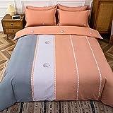 Bedclothes-Blanket Funda nórdica 3D Lila,Artículos Soldados, algodón, Enrejado Rayado Simple.-T_1,8 m de Cama (20 Series de 200 * 230cm)